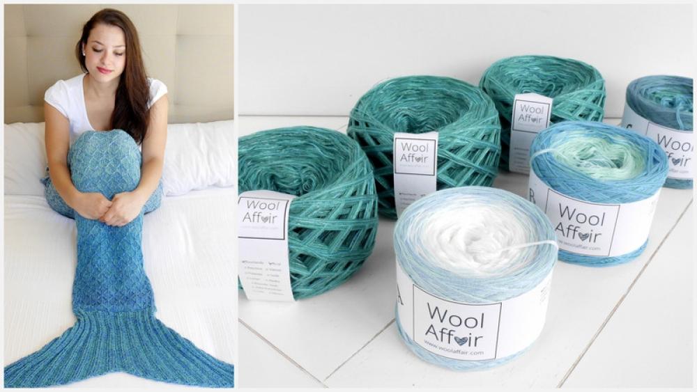 Wollpaket Meerjungfrauen Decke aquamarin (ohne Anleitung)