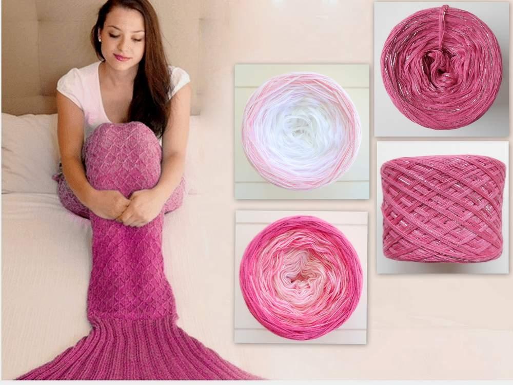 Wollpaket Meerjungfrauen Decke rosa (ohne Anleitung)