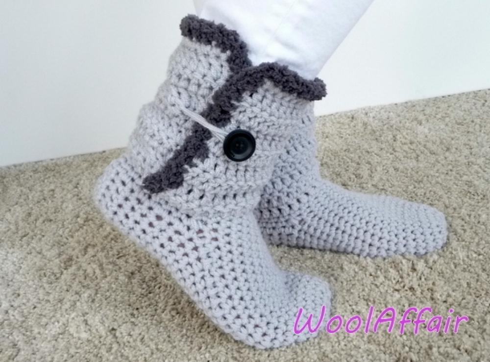 Woolaffair Handmade Häkelanleitung Hausschuhe Häkeln